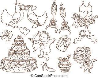 Vector Doodle Set with Wedding Elements