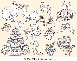 Vector Doodle Set with Wedding Elements