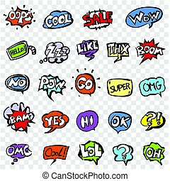 vector doodle speech clouds icons set