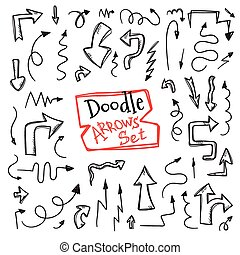 Vector doodle style arrow set. Hand drawn collection of sketch arrows