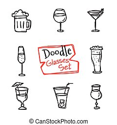 Vector doodle style glasses icons set. Hand drawn collection of drinks