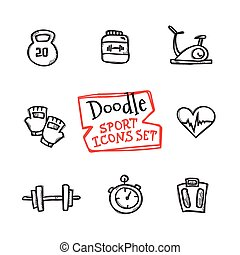 Vector doodle style line icons sports set. Cute hand drawn...
