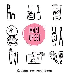 Cute hand drawn collection of cosmetics objects