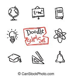 Vector doodle style school set. Cute hand drawn collection...