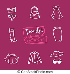 Vector doodle style women clothes icons set. Hand drawn collection of fashion objects