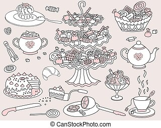Vector Doodle Tea Party Set with Various Assortment of Sweet, Vase, Tea Pot and Cup