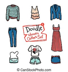 Vector doodle women clothes icons set. Hand drawn collection of fashion objects