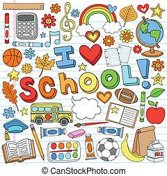 vector, doodles, escuela, conjunto, espalda
