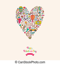 Vector doodles heart, valentine's day card. Kids, travel, enjoy life concept. Greeting card. Various travel vacation icons arranged in heart shape, childish layout. Romantic backdrop,  sweet design.