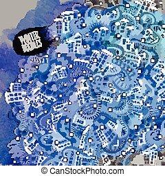 Vector doodles winter city
