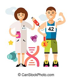 Vector Doping and sport concept. Flat style colorful Cartoon illustration.