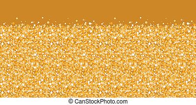 vector, dorado, brillante, resplandor, textura, horizontal, frontera, seamless, patrón, plano de fondo