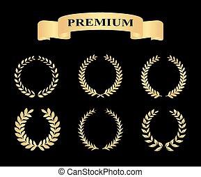 vector, dorado, conjunto, silueta, heráldica, nobleza, ilustración, foliate, coronas, trigo, premio, laurel, eps10, retratar, clásico, banderas, logro, circular