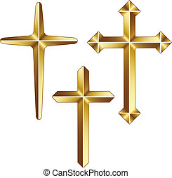 vector, dorado, cristiano, cruces