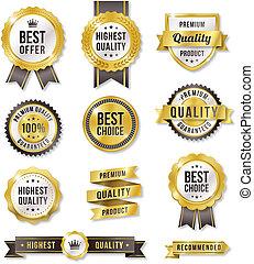 vector, dorado, etiquetas, comercial