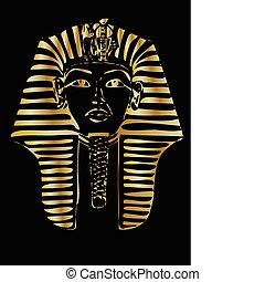 vector, dorado, faraón