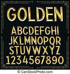 vector, dorado, graba relieve, fuente