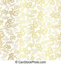 vector, dorado, hojas, textura, seamless, repetición, patrón, fondo., grande, para, otoño, tela, papel pintado, giftwrap, scrapbooking, projects.