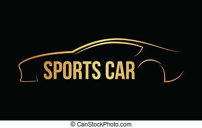 vector, dorado, logotipo, servicio coche