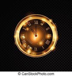 vector, dorado, reloj, aislado, en, transparente, plano de...