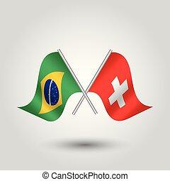 vector, dos, cruzado, brasileño, y, suizo, banderas, en, plata, palos, -, símbolo, de, brazilia, y, suiza