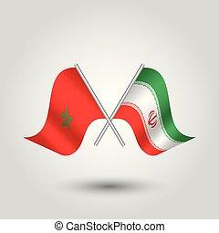 vector, dos, cruzado, marroquí, y, iraní, banderas, en, plata, palos, -, símbolo, de, marruecos, y, irán