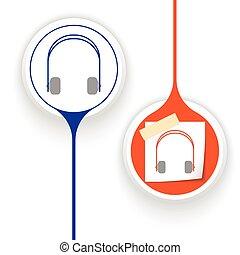 vector, dos, objetos, auriculares