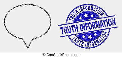 Vector Dot Banner Balloon Icon and Distress Truth Information Stamp Seal