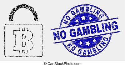 Vector Dot Bitcoin Lock Icon and Grunge No Gambling Stamp