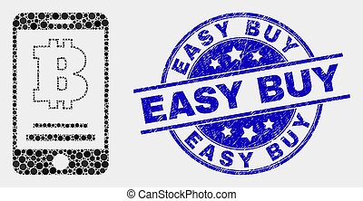 Vector Dot Bitcoin Mobile Account Icon and Scratched Easy Buy Seal