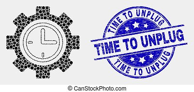 Vector Dot Clock Setup Wheel Icon and Grunge Time to Unplug Stamp Seal