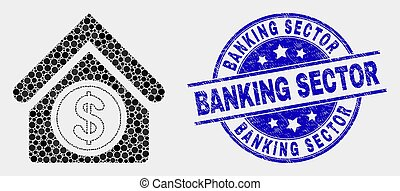 Vector Dot Commercial Building Icon and Grunge Banking Sector Stamp Seal