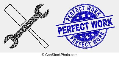 Vector Dot Configuration Tools Icon and Grunge Perfect Work Stamp Seal