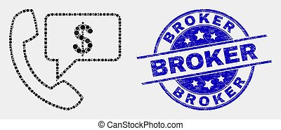 Vector Dot Financial Phone Message Icon and Distress Broker Stamp