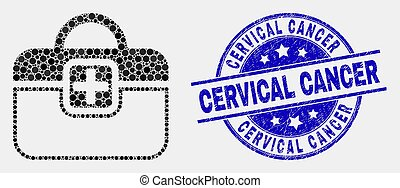 Vector Dot First-Aid Case Icon and Scratched Cervical Cancer Seal
