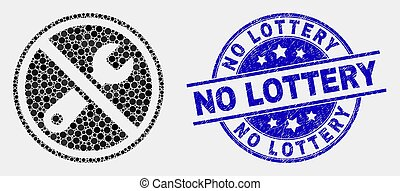Vector Dot Forbidden Repair Icon and Scratched No Lottery Stamp Seal