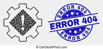 Vector Dot Gear Warning Icon and Distress Error 404 Stamp