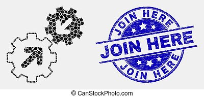 Dotted integration gears mosaic pictogram and Join Here seal stamp. Blue vector round textured seal stamp with Join Here phrase. Vector combination in flat style.
