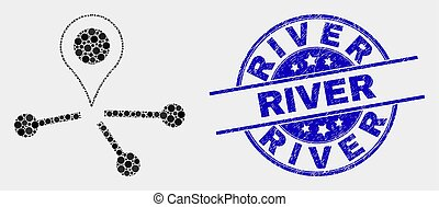 Vector Dot Map Pointer Links Icon and Grunge River Watermark