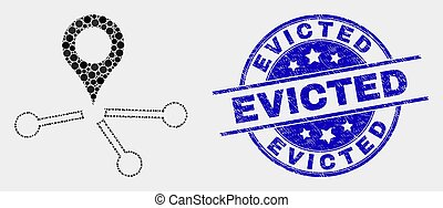 Vector Dot Map Pointer Links Icon and Scratched Evicted Stamp