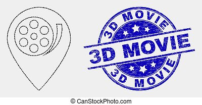 Vector Dot Movie Map Marker Icon and Distress 3D Movie Seal