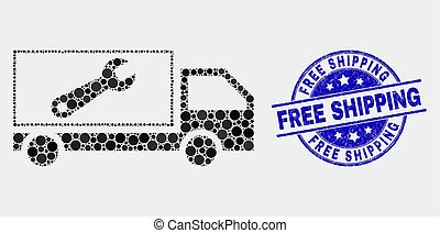 Vector Dot Repair Lorry Icon and Distress Free Shipping Seal