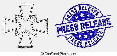 Vector Dot Shrink Arrows Icon and Grunge Press Release Stamp