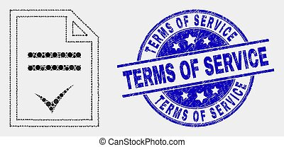 Vector Dotted Agreement Page Icon and Distress Terms of Service Watermark
