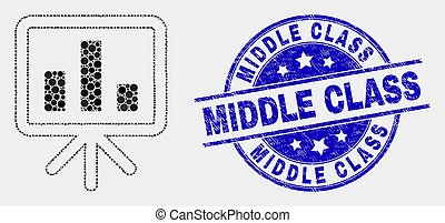 Vector Dotted Bar Chart Presentation Icon and Grunge Middle Class Watermark