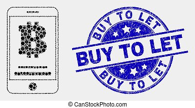 Vector Dotted Bitcoin Mobile Account Icon and Grunge Buy to Let Seal