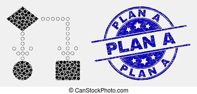 Vector Dotted Block Diagram Icon and Scratched Plan A Stamp Seal