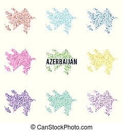 Vector dotted colourful map of Azerbaijan.