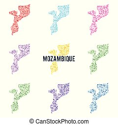 Vector dotted colourful map of Mozambique.