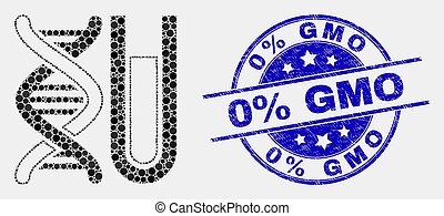 Vector Dotted DNA Testtube Icon and Grunge 0% GMO Seal - ...